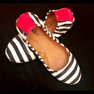 LUCKY BRAND Canvas Striped Ballet Flats